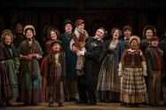 """""""A Christmas Carol"""" adapted by Joseph Hanreddy and Edward Morgan from Dickens, at Milwaukee Repertory Theater through Dec. 24. Pictured: Amalia Cecsarini and Jonathan Smoots, center, with the cast. (Photo by Michael Brosilow)"""