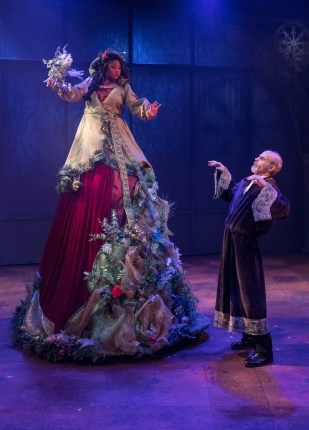 """A Christmas Carol,"" adapted by Preston Lane from Charles Dickens, at Triad Stage in Greensboro, N.C., through Dec. 24. Pictured: Lulu Picart and David Sitler. (Photo by VanderVeen Photographers)"