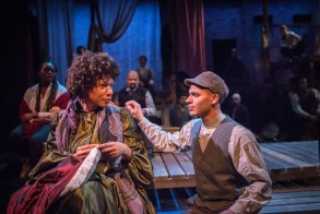 """""""A Civil War Christmas"""" by Paula Vogel, at Artists Repertory Theatre in Portland, Ore., in 2016. Pictured: Ayanna Berkshire, Blake Stone, and ensemble. (Photo by Owen Carey)"""