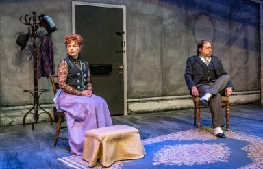 """""""A Doll's House, Part 2"""" by Lucas Hnath, at Cyrano's Theatre Company in Anchorage, Alaska, through Nov. 11. Pictured: Kristina M Schwarting and Frank Delaney."""