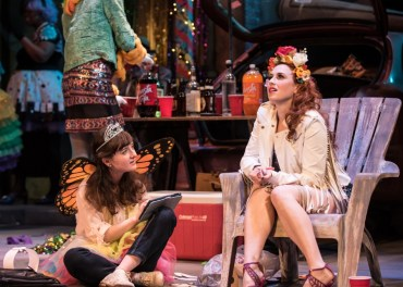 """""""Airline Highway"""" by Lisa D'Amour, at Virginia Repertory Theatre in Richmond, Va., through Feb. 12. Pictured: Kat Collin and Emma Orelove. (Photo by Madeline Hurley)"""