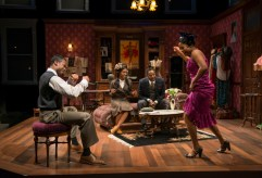 """""""Blues for an Alabama Sky"""" by Pearl Cleage, at Court Theatre in Chicago through Feb. 12. Pictured: Sean Parris, Celeste M. Cooper, James Vincent Meredith, and Toya Turner. (Photo by Michael Brosilow)"""