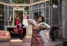 """""""An Ideal Husband"""" by Oscar Wilde, at American Players Theatre in Spring Green, Wisc., in 2016. Pictured: Jennifer Latimore and cast. (Photo by Liz Lauren)"""