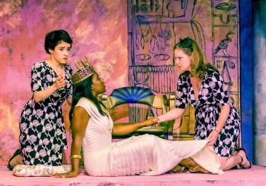 """""""Antony and Cleopatra"""" by Shakespeare, at Cyrano's Theatre Company in Anchorage, Alaska, through Aug. 14. Pictured: Sarah Baird, Shanette Harper, and Krista M. Schwarting. (Photo by Frank Flavin)"""
