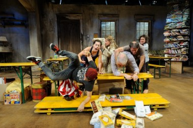 """""""Appropriate"""" by Branden Jacobs-Jenkins, at Trinity Repertory Company in Providence, R.I., through Nov. 6. Pictured: Alec Weinberg, Angela Brazil, Marina Morrissey, Fred Sullivan, Jr., Mauro Hantman, and Phyllis Kay. (Photo by Mark Turek)"""