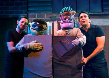"""Avenue Q"" by Robert Lopez, Jeff Marx, and Jeff Whitty, at the New Conservatory Theatre Center in San Francisco in 2015. Pictured: Chris Morrell and William Giammona. (Photo by Lois Tema)"