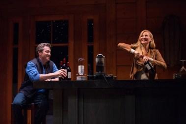 """Big Sky"" by Alexandra Gersten-Vassilaros, at Geffen Playhouse in Los Angeles, through July 17. Pictured: Jon Tenney and Jennifer Westfeldt. (Photo by Darrett Sanders)"