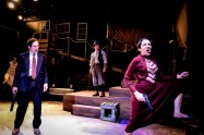 """""""Bonnie & Clyde,"""" by Frank Wildhorn, Don Black, and Ivan Menchell, presented by Kokandy Productions at Theater Wit in Chicago through Oct. 15. Pictured: Max DeTogne, Desiree Gonzalez, Tia L. Pinson, and Jeff Pierpoint. (Photo by Evan Hanover)"""
