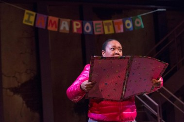 """""""Bridge & Tunnel"""" by Sarah Jones, at Indiana Repertory Theatre in Indianapolis through May 1. Pictured: Milicent Wright. (Photo by Zach Rosin)"""