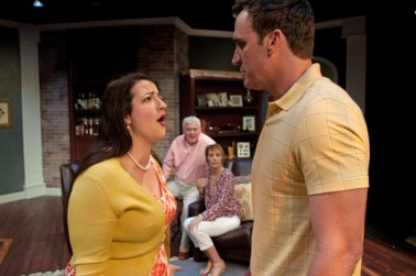 """""""Clever Little Lies"""" by Joe DiPietro, at B Street Theatre in Sacramento, Calif., through July 31. Pictured: Tara Sissom and Jason Kuykendall. (Photo by B Street Staff)"""