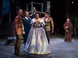 """""""Cyrano de Bergerac,"""" adapted by James DeVita from Edmond Rostand, at American Players Theatre in Spring Green, Wisc., through Oct. 6. Pictured: James Ridge, David Daniel, Laura Rook, Danny Martinez, and Kipp Moorman. (Photo by Michael Brosilow)"""