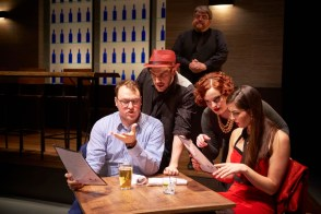 """First Date,"" by Austin Winsberg, Alan Zachary, and Michael Weiner, at Ensemble Theatre Cincinnati through Feb. 5. Pictured: Michael Gerard Carr, Robert Pecchia, Jared D. Doren, Jeremy Parker, and Sarah Hoch. (Photo by Ryan Kurtz)"