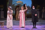 """""""Emma"""" adapted by Paul Gordon from Jane Austen, at TheatreWorks in Palo Alto, Calif. through Jan 2. Pictured: Leigh Ann Larkin, Lianne Marie Dobbs, and Brian Herndon. (Photo by Kevin Berne)"""