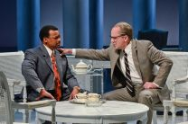 """""""All the Way"""" by Robert Schekkan, at Dallas Theater Center, a coproduction with the Alley Theatre in Houston in 2016. Pictured: Shawn Hamilton and Brandon Potter. (Photo by Karen Almond)"""