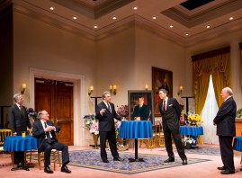 """Five Presidents"" by Rick Cleveland, at Milwaukee Repertory Theatre in Milwaukee, Wisc., in 2015. Pictured: Martin L'Herault (Jimmy Carter), Mark Jacoby (George H.W. Bush), Brit Whittle (Bill Clinton), Steve Sheridan (Ronald Reagan), and Jeff Steitzer (Gerald Ford). (Photo by Tim Fuller)"