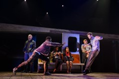 """""""Ghost the Musical,"""" by Bruce Joel Rubin, Dave Stewart, and Glen Ballard, at the Finger Lakes Musical Theatre Festival in Auburn, N.Y., through Sept. 16. Pictured, Adrian Baidoo, Derek Carley, and cast. (Photo by Ron Heerkens Jr.)"""