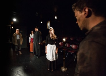 """""""Ghosts"""" adapted by Greg Allen from Henrik Ibsen, at Mary-Arrchie Theatre Company in Chicago through Dec. 20. Pictured: Kirk Anderson, Carolyn Hoerdemann, Stephen Walker, Catherine Lavoie, and Gage Wallace. (Photo by Joe Mazza/Brave Lux)"""