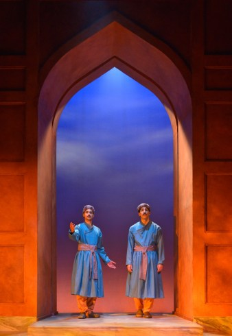 """""""Guards at the Taj"""" by Rajiv Joseph, at Marin Theatre Comapny in Mill Valley, Calif., through May 21. Pictured: Rushi Kota and Jason Kapoor. (Photo by Kevin Berne)"""