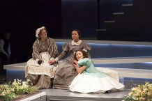 """""""Jane Eyre,"""" adapted by Polly Teale from Charlotte Brontë, at Cincinnati Playhouse in the Park through April 8. Pictured: Tina Stafford, Margaret Ivey, and Rebecca Hirota. (Photo by Mikki Schaffner Photography)"""