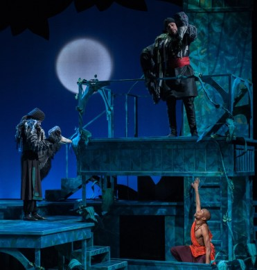 """""""The Jungle Book,"""" adapted by Greg Banks from Rudyard Kipling, at Imagination Stage in Bethesda, Md., through May 28. Pictured: Latia Stokes, Ricardo Frederick Evans, and Justin Weaks. (Photo by Margot Schulman)"""