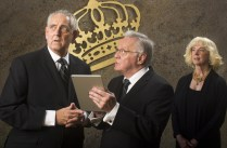 """""""King Charles III"""" by Mark Bartlett, at Arizona Theatre Company in Tucson, through Sept. 30. Pictured: Peter Van Norden, Harold Dixon, and Cathy Dresbach. (Photo by Tim Fuller)"""