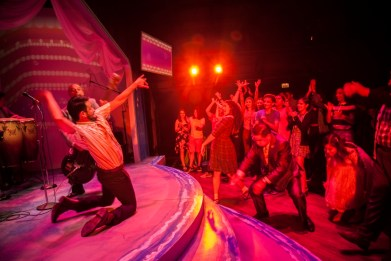 """La Havana Madrid"" by Sandra Delgado, presented by Teatro Vista at the Goodman Theatre in Chicago, through Aug. 20. Pictured: Roberto ""Carpacho"" Marin and cast. (Photo by Erik Scanlon)"