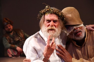 """""""King Lear"""" by William Shakespeare, at Connecticut Repertory Theatre in Storrs, Conn., through Nov. 16. Pictured: Ryan Shea, Graeme Malcolm, and Raphael Nash Thompson. (Photo by Gerry Goodstein)"""