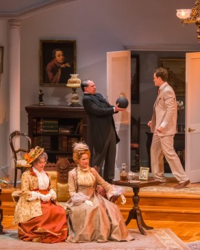 """""""Lord Arthur Savile's Crime"""" by Constance Cox, at Peninsula Players Theatre in Fish Creek, Wisc., through Sept. 3. Pictured: Penny Slusher, Karen Janes Woditsch, Karl Hamilton, and Matt Holzfeind."""