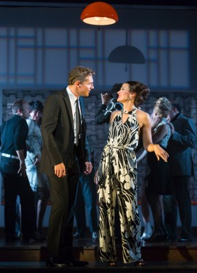 """""""Merrily We Roll Along,"""" by Stephen Sondheim and George Furth, at Huntington Stage Company in Boston through Oct. 15. Pictured: Mark Umbers and Aimee Doherty. (Photo by T Charles Erickson)"""