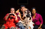 """""""The Merry Wives of Windsor"""" by Shakespeare, at Two River Theater in Red Bank, N.J., through March 26. Pictured: Zuzanna Szadkowski, Jason O'Connell, and Nicole Lewis. (Photo by T Charles Erickson)"""