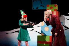 """""""Merry %#!*ing Christmas"""" by Kevin Gillese, a coproduction with Dad's Garage Theatre Company at the Alliance Theatre in Atlanta, through Dec. 19. Pictured: Taylor M. Dooley and Chris Blair. (Photo by Greg Mooney)"""
