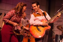 """Million Dollar Quartet,"" by Colin Escott and Floyd Mutrux, at Florida Studio Theatre in Sarasota, Fla., in 2016. Pictured: Michelle Pruiett, Kroy Presley, and Joe Boover. (Photo by Matthew Holler)"