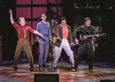 """""""Million Dollar Quartet,"""" by Colin Escott and Floyd Mutrux, at ZACH Theatre in Austin through Sept. 3. Pictured: Gavin Rohrer, Billy Cohen, Cole, and Corbin Mayer. (Photo by Kirk Tuck)"""