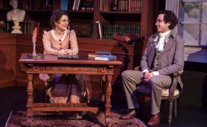 """""""Miss Bennet: Christmas at Pemberley,"""" by Lauren Gunderson and Margot Melcon, at Capital Stage in Sacramento, Calif., through Dec. 30. Pictured: Elyse Sharp and Aaron Kitchin. (Photo by Charr Crail)"""