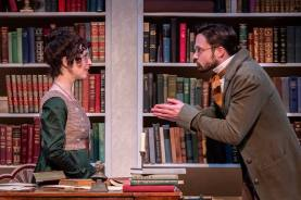 """""""Miss Bennet: Christmas at Pemberley,"""" by Lauren Gunderson and Margot Melcon, at Theatrical Outfit in Atlanta through Dec. 23. Pictured: Amelia Fischer and Jonathan Horne."""