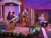 """""""Native Gardens"""" by Karen Zacarías, at WaterTower Theatre in Addison, Texas, through June 25. Pictured: Stephanie Cleghorn Jasso, Ivan Jasso, John S. Davies, and Lois Sonnier Hart. (Photo by Karen Almond)"""