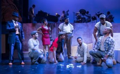 """Porgy and Bess,"" by George Gershwin, DuBose Heyward, and Ira Gershwin, at Ensemble Theatre Company in Santa Barbara, Calif., through Feb. 26. Pictured: Frank Lawson, LeSean Lewis, Karole Foreman, KB Solomon, Phillip Brandon, Elijah Rock, Davon Williams, and Aaron Braxton. (Photo by David Bazemore)"