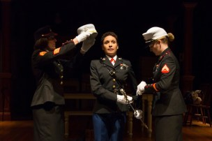 """""""Queens For A Year"""" by T.D. Mitchell, at Hartford Stage Company in Hartford, Conn., through Oct. 2. Pictured: Charlotte Maier, Vanessa R Butler, Heidi Armbruster, and Alice Cannon. (Photo by T Charles Erickson)"""
