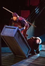 """""""Robin Hood!"""" by Ken Ludwig, at the Old Globe in San Diego, Calif., through Aug. 27. Pictured: Paul Whitty and Andy Grotelueschen. (Photo by Jim Cox)"""