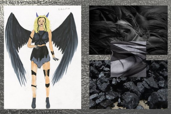 "A costume rendering and collage for the character of Lillith in ""She Kills Monsters."""
