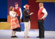 """""""Stuart Little,"""" adapted by Joseph Robinette from E.B. White, at MainStreet Theatre Company in Rancho Cucamonga, Calif., through Oct. 16. Pictured: Amanda Pajeer, Mark Jacobson, Scott McClean Harrison, and Joshua Wolf Coleman. (Photo by Ed Krieger)"""