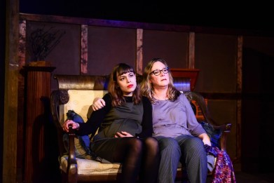 """""""Scapegoat; Or Why the Devil Always Loved Us"""" by Connor McNamara at the New Colony in Chicago through May 7. Pictured: Cassidy Slaughter-Mason and Barbara Figgins. (Photo by Evan Hanover)"""
