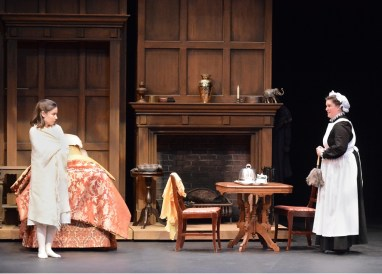 """""""The Secret Garden,"""" adapted by Pamela Sterling from Frances Hodgson Burnett, at Lewis Family Playhouse in Rancho Cucamonga, Calif., through Feb. 12. Pictured: Shannon Lee Chair and Taylor Jackson Ross. (Photo by Ed Krieger)"""