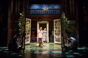 """""""Sense and Sensibility,"""" adapted by Kate Hamill from Jane Austen, at Folger Theatre in Washington, D.C., through Nov. 6. Pictured: Maggie McDowell and Erin Weaver. (Photo by Teresa Wood)"""