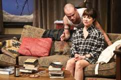 """""""Sex With Strangers"""" by Laura Eason, at the Geffen Playhouse in Los Angeles, through April 10. Pictured: Stephen Louis Grush and Rebecca Pidgeon. (Photo by Michael Lamont)"""
