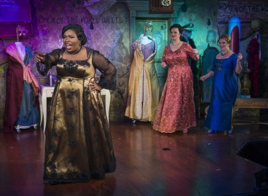 """""""Sirens of Song"""" by Pearl Ramsey and Kevin Ramsey, at Milwaukee Repertory Theater through May 29. Pictured: Maiesha McQueen, Amelia Cormack, and Bertilla Baker. (Photo by Michael Brosilow)"""