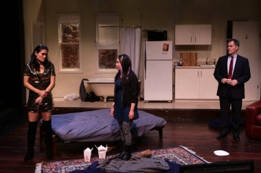 """""""Stage Kiss"""" by Sarah Ruhl, at Lyric Stage Company of Boston through March 26. Pictured: Celeste Oliva, Theresa Nguyen, and Craig Mathers. (Photo by Mark S. Howard)"""