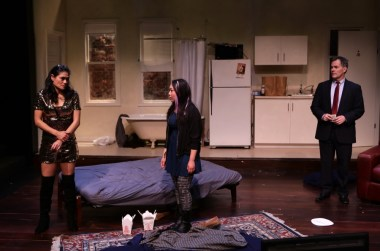 """""""Stage Kiss"""" by Sarah Ruhl, at Lyric Stage Company of Boston in 2017. Pictured: Celeste Oliva, Theresa Nguyen, and Craig Mathers. (Photo by Mark S. Howard)"""