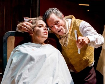 """""""Sweeney Todd,"""" by Stephen Sondheim and Hugh Wheeler, at Long Beach Playhouse in Long Beach, Calif., through Nov. 12. Pictured: Carole Louise Duffis and Noah Wagner. (Photo by Michael Hardy Photography)"""
