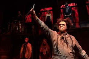 """""""Sweeney Todd,"""" by Hugh Wheeler and Stephen Sondheim, at Palmbeach Dramaworks in West Palm Beach, Fla., through Aug. 6. Pictured: Shane R. Tanner and cast. (Photo by Cliff Burgess)"""